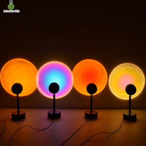 ingrosso sfondi arcobaleno-Sunset Projector Lamp Rainbow Atmosphere LED Night Light per casa Camera da letto Caffè Negozio Sfondo decorazione della parete Lampada da tavolo USB