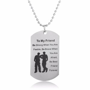 Wholesale best friendship resale online - New Arrival Best Friends Forever Dog Tag Pendant Necklace BFF Friendship Stainless Steel Jewelry Gifts Souvenir Collar