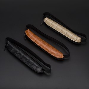 Wholesale pencil handmade pen resale online - 1pcs Leather Fountain Pencil Bag Handmade Genuine Pen Cases Cover Sleeve Pouch Office School Students Supplies