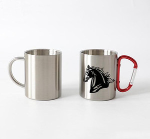 Wholesale customized coffee mugs resale online - 10oz Thermal transfer Coffee Mug with Carabiner Handle Customize Stainless Steel Sublimation Mug Portable Travel Cup Sea Shipping WWA138