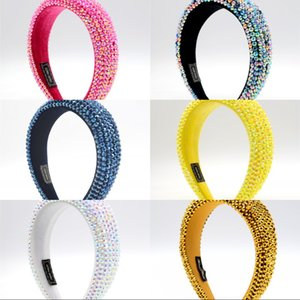 ingrosso capelli perline-Full Crystal Beaded Wide Fascia Colorato Colorato Rhinestone Hair Hoop Donna Girl Princess Hairband Sparkly Paddled Hairband Headdress U2
