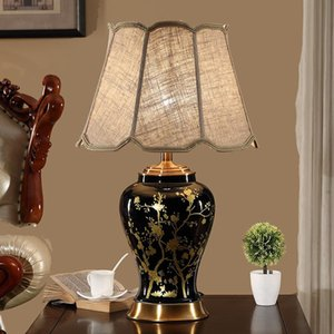 Wholesale black ceramic lamp for sale - Group buy New Chinese Retro Black White Ceramic Table Lamp For Living Room Study Bedroom Bedside Lamp Night Light Simple Decorative