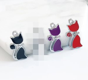 Wholesale enamel cat charms for sale - Group buy 20pcs Three Colors Enamel Cat Hang Pendant Hang Charm Fit Diy Phone Strips DIY accessory zinc alloy