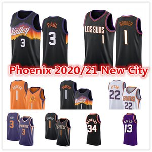 ciudad del sol al por mayor-Hombre Chris Paul Devin Booker Basketball Jersey Deandre Ayton Steve Charles Nash Barkley Phoenix