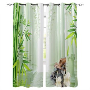 Wholesale window surfaces for sale - Group buy Bamboo Swan Pillar Water Surface Stone Windows Curtains Living Room Bedroom Kitchen Children Drapes Window Treatments Curtain