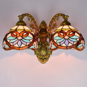 Wholesale ancient dining room lamp resale online - Type Restoring Ancient Ways Is Double Wall Lamp Corridor American Baroque Color Glass Sitting Room Dining room