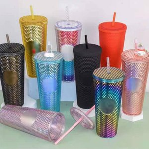 Wholesale coffee mugs resale online - 24 oz Personalized Star bucks Iridescent Bling Rainbow Unicorn Studded Cold Cup Tumbler coffee mug with straw B101