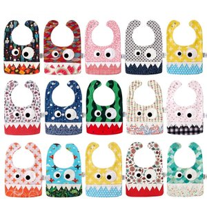 Wholesale halloween bibs resale online - Style Baby INS Little cartoon monster bibs Burp New kids Christmas Halloween Pure cotton double layer bibs burp cloths Y2