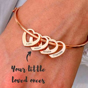 Wholesale customized bracelets resale online - Stainless Steel Bangle Letter Personalized Bracelets with Hearts Customized Engraved Names Bracelets Bangles for Women Gift
