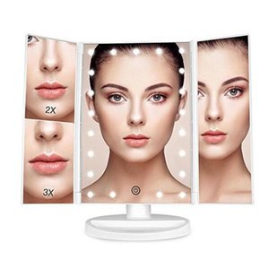 Wholesale mirror lights makeup resale online - Mirror Makeup With LED Light And Holder Vanity Cosmetic Bath X Magnifying Table Desktop Folding Adjustable Panels Panel Lights