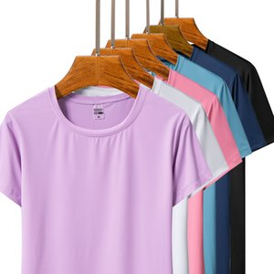Wholesale mens exercise shirts resale online - Summer New Couple Quick Drying Exercise Short Sleeves Mens and Womens Outdoor Leisure Ice Silk T shirt Top Running Workout T shirt