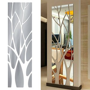 Wholesale black tree decals resale online - Modern Tree Mirror Decal Art Mural Wall Stickers Removable DIY Home Decoration HH21