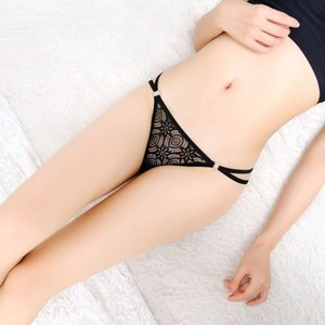 Wholesale underwear thong rings resale online - Low waist hollow sliding iron ring women s sexy lace underwear Weimi women s fun thong