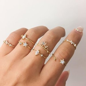 Wholesale setting games resale online - Letapi Bohemian Crystal Set Star Gold Color Rings for Women Mode Geometric Pearl Ring Trendy Jewelry Gifts Game