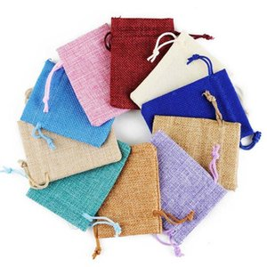 Wholesale mini jute bags for sale - Group buy 17 cm Multi Colors Mini Pouch Jute Bag Linen Hemp Small Drawstring Bags Ring Necklace Jewelry Pouches Wedding Favors Gift Packaging L8M