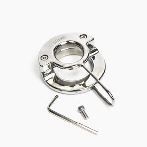 5 Sizes Cockrings Testicular Pendant Stainless Scrotum Pendants Double-Ring-Shape Weight Negative Penis Isolating Rod Sex Toys for Men BB-226
