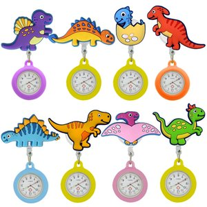 Wholesale doctors fob watch resale online - 50pcs Retractable Badge Reel Lovely Watches Colourful Dinosaur Nurse Doctor Hospital Medical FOB Pocket Hang Quartz Clock Gifts