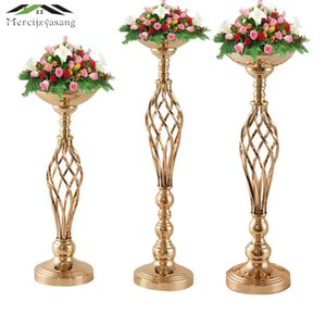 Wholesale wedding candelabra candlestick holders resale online - Flowers Vases Candle Holders Road Lead Table Centerpiece For Wedding Metal Gold Stand Pillar Candlestick Candelabra MB002