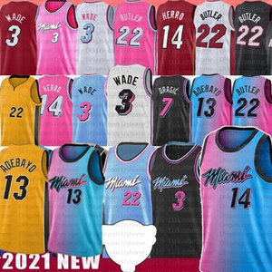 Men's Bam 13 Adebayo Jimmy Tyler 22 Butler City Basketball Jersey 14 Herro Dwyane 3 Wade Goran 7 55 Duncan Dragic Kendrick Robinson Nunn Pink Blue Yellow Earned Jerseys