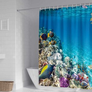Wholesale modern textiles resale online - Bathroom Shower Curtain Sea Beach Landscape Modern Polyester Fabric Eco Friendly Waterproof Home Textile Designer Custom Luxury Curtains
