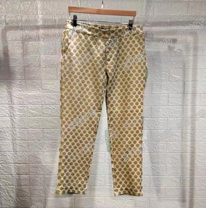 ingrosso pantaloni-20SS Francia Ultima Primavera Estate Moda Italia Pantalone Golden Brown Jacquard Uomo Donna Casual Cotton Baseball Triangle Pants Blue