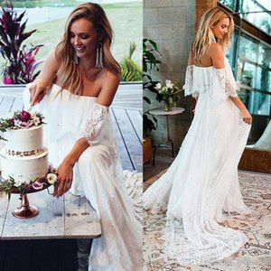 Wholesale hunter green lace fabric resale online - Off Shoulder Lace Fabric Flare Sleeve A Line Beach Wedding Dress Bridal Gown