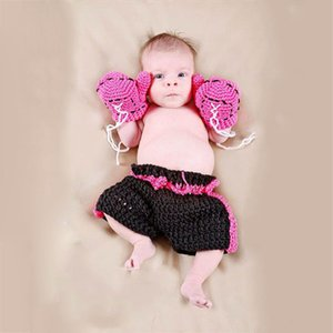 boxers para chicas al por mayor-Baby photography Photography Prop Costume Hat Boys Girl Crochet Knit Ropa Boxer Boxing Gloves Pantalones Set para Baby Infantil Z2