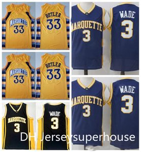 águilas amarillas al por mayor-Men College Marquette Golden Eagles Jerseys Dwyane Wade Baloncesto Jimmy Butler Equipo Inicio Negro Azul Amarillo Deporte Uniforme