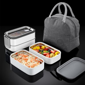 Wholesale lunch box adults resale online - Double Layer Lunch Box Portable Stainless Steel Eco Friendly Insulated Food Container Storage Bento Boxes with Keep warm Bag