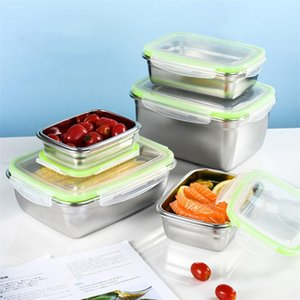 Wholesale refrigerators stainless steel resale online - Portable Stainless Steel Sealed Lunch Box For Kids Refrigerator Leak Proof Storage Container Office Worker Bento Dinnerware Sets