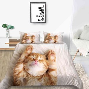 Wholesale king girl fashion for sale - Group buy 3D Cat Bedding Set For Girl Fashion Comfortable Cute Duvet Cover King Queen Twin Full Single Double Unique Design Bed Set L0320
