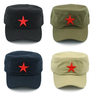 Wholesale coolest flat cap for sale - Group buy Mistdawn Unisex Cotton Military Cap Spring Summer Beach Outdoor Street Street Cool Church Sunhat Flat Top Hat With Red Star