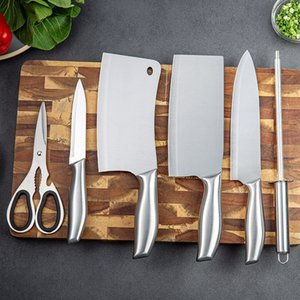 Wholesale cutting knife steel for sale - Group buy Knife Set Kitchen Stainless Steel Kitchen Knife Set Household Knife Holder Bone Cutting and Meat Cutting Set Gift