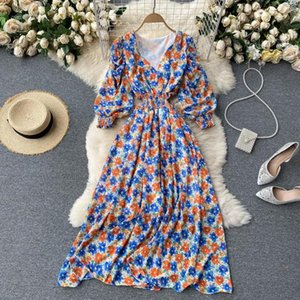 Wholesale out line for sale - Group buy Women s Summer Dress Boho Style Floral Print Long Elegant V neck Puff Sleeve Hollow Out Waist A line Beach Casual Dresses