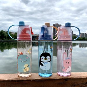 Wholesale big spray resale online - Tiktok Fashion Cartoon Spray Sports Water Bottle ml Big Capacity Adults Kids Outdoor Sports Drinking Cup Drinkware FY4135