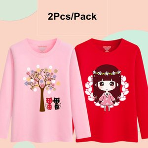 Wholesale cartoon shirts for kids resale online - 2Pcs Pack Kids Girls Clothes Cotton Long Sleeve T Shirt for Children Toddler Baby Cartoon Sweatshirts Soft Tee Shirts Yrs