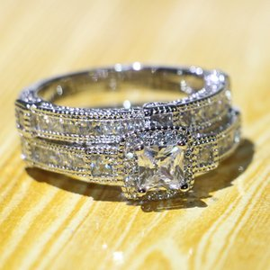 Wholesale choucong for sale - Group buy Choucong Vintage Fashion Jewelry Brand New Original Sterling Silver Couple Rings Princess Cut White Topaz CZ Diamond Wedding Bridal Ring