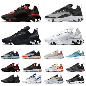 Triple black white schematic React element 87 55 mens running shoes sail Taped Seams Script Blue Chill men women trainers sports sneakers 36-45