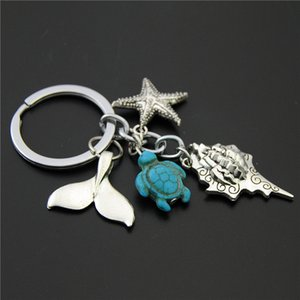 Wholesale seas star for sale - Group buy Keychains Pc Blue Shield Path Beads Sea star Conch Fish cake Keychain Diy Handmade Ocean Beach