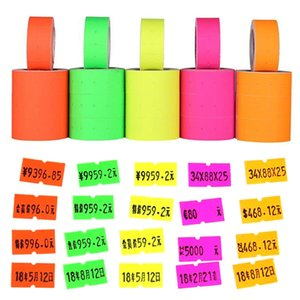 Wholesale retail tags labels resale online - 500pcs roll Colorful Price Label Paper Tag Mark Sticker For MX Labeller Gun Self adhesive Design Price Label Retail Tags