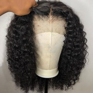 Wholesale short hand resale online - Brazilian Virgin Human Hair Wig Lace front Black Color Pre Plucked Natural hairline Bleach Knot Short