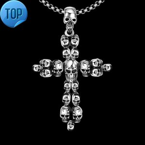 Wholesale popular necklace styles for sale - Group buy Ancient Maya popular in Europe and the United States retro style skull picture cross men s Pendant Necklace gmyn029