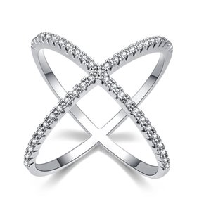 Wholesale diamond pave ring designs for sale - Group buy Design Luxury Diamond Micro Pave setting Big X Shaped Finger Rings Wedding Bands Jewelry for Women