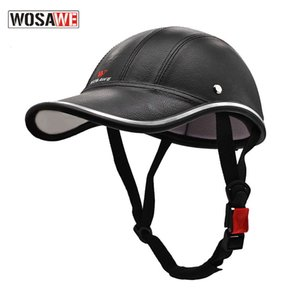 Wholesale children electric motorcycle for sale - Group buy cap Wosawe motorcycle half baseball cap electric bicycle scooter riding leather protective helmet