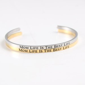 Wholesale customized bracelets for sale - Group buy quot Mom Life Is The Life quot Customize Stainless Steel Positive Inspirational Personalized Bracelet Mantra Bangle For Women