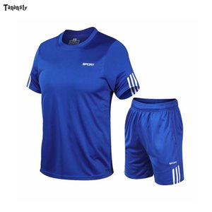 Wholesale mens exercise shirts for sale - Group buy 2020new T shirt sports suit Mens or Womens Training Custom Sportswear Exercise Fitness Gym Short Sleeve Soccer Running shorts