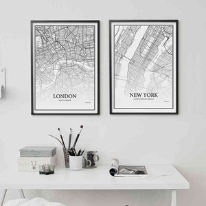 Wholesale canvas map wall resale online - 900D Posters And Prints Art Canvas Painting Wall Pictures For Living Room Nordic Decoration City Grid Map YM008