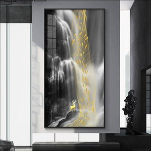 Wholesale waterfall canvas art resale online - Modern Abstract Canvas Painting Waterproof Poster Waterfall WaterDecorative Art x120 Mural Gift Decoration Wall Paintings