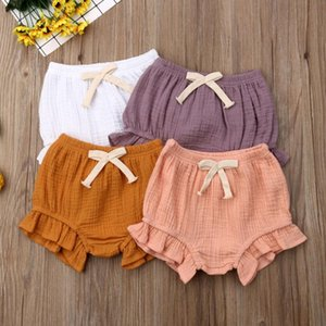 Wholesale baby bloomers diaper covers resale online - 0 M Infant Baby Girl Boys Cotton Solid Ruffle Shorts PP Pants Nappy Diaper Covers Bloomers