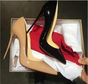 Wholesale women dress shoes size 12 resale online - 2021 lady women red bottom high heels shoes nude black sexy pointed toe height cm pumps for wedding dress euro size